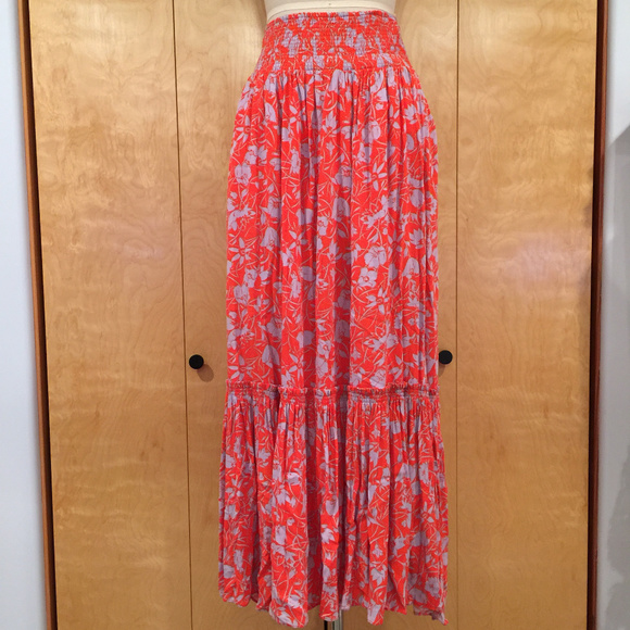c4ae15357 Free People Skirts | Way Of The Wind Floral Maxi Skirt Red | Poshmark